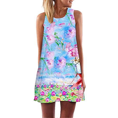 Printed Round Neck Strapless Dress Ladies Retro 3D Floral Print Sleeveless Vest Mini A -Line Skirt Boho Style L
