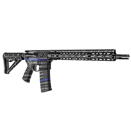 GunSkins AR-15 Rifle Skin Camouflage Kit DIY Vinyl Wrap with precut Pieces (GS Thin Blue Line)