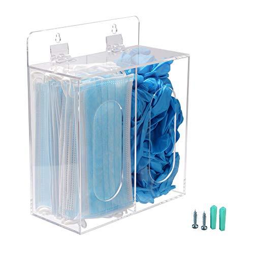 Koemehr Acryl-Einweg-Spender für Gesichtsmasken und Handschuhe, mit Deckel, Haarnetz und Schuhdeckel-Spender, Bouffant-Spender, kann an der Wand aufgehängt und auf dem Tisch stehen, transparent