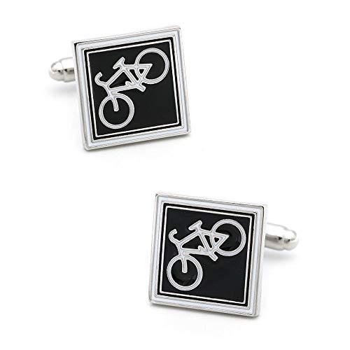 KFYU Piktogramm Spaß Quadrat schwarz unten Fahrrad Manschettenknöpfe Herren Französisch Manschetten