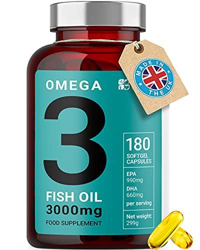 Omega 3 Olio di Pesce | 3000mg, 990 EPA 660 DHA per dose | 180 Capsule Softgel Premium Non-GMO, Prive di Glutine