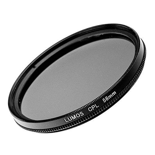 LUMOS Premium Polarisationsfilter - 58mm – Lichtdurchlässiges Glas – 2-teilige Metallfassung - Polfilter 58 mm – schlankes Slim Design