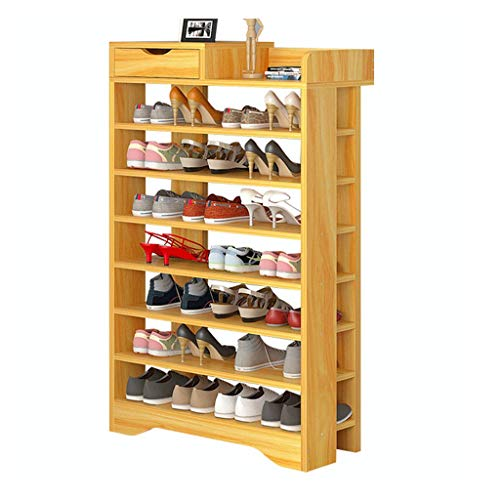 Kiter Shoe Racks Large Capacity 8 Tier Shoe Rack Modern Simple Shoe Cabinet Wooden Shoe Storage Organizer Assembly Entrance Living Room Shoe Shelf (Color : Walnut)