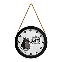 ClumsyPets Wall Clock, Silent Non Ticking 10 Inch Battery Operated Quartz Wall Decor with Rope Hanger for Kids Room, Kitchen, Living Room, Bedroom,Classroom, Office-Black (Cat)