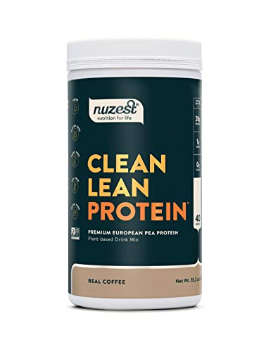 Real Coffee Clean Lean Protein by Nuzest - Premium Vegan Protein Powder, Plant Protein Powder, European Golden Pea Protein, Dairy Free, Gluten Free, GMO Free, Naturally Sweetened, 40 Servings, 2.2 lb