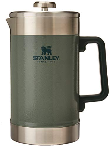 Stanley French Press 48oz with Double Vacuum Insulation, Stainless Steel Wide Mouth Coffee Press, Large Capacity, Ergonomic Handle, Dishwasher Safe,, Hammertone Green (10-02888-007)