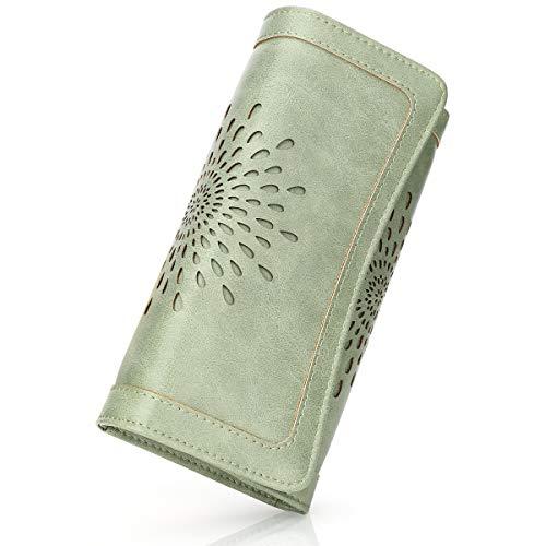 Monedero de piel sintética para mujer con protección RFID, monedero largo con botón