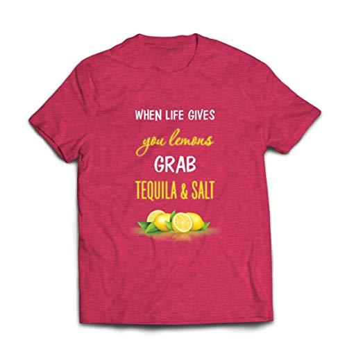 lepni.me Camisetas Hombre Cuando la Vida te da Limones coge el Tequila y Cita la Sal (XXL Brezo Rojo Multicolor)