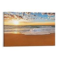 美しいビーチキャンバスアートポスター装飾絵画壁アート写真プリントポスターリビングルーム壁画家の装飾絵画16×24インチ(40×60cm)