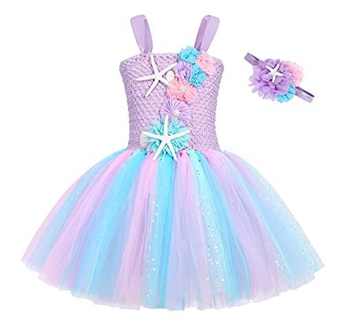 Cotrio Mermaid Tutu Dress Girls Mermaid Birthday Party Princess Dress Halloween Costume Outfits Toddler Kids Mermaid Starfish Tulle Tutu Skirt (4-5 Years, Light Purple)