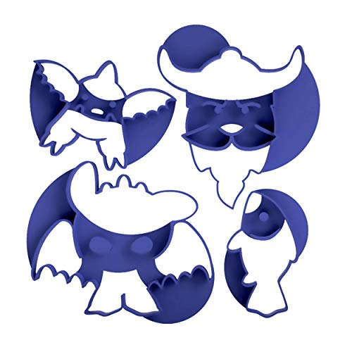 3DREAMS 4er Ausstecher Set Drachen │ Fisch - Wikinger - Dragons │ Ausstechform Set inkl. 2 Rezepten & 3D Keks/Stempelkeks Anleitung │ Made in Germany │ aus Bio Kunststoff