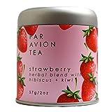 Par Avion Tea, Strawberry - Small Batch Loose Leaf Herbal Blend With Hibiscus + Kiwi - 2 oz