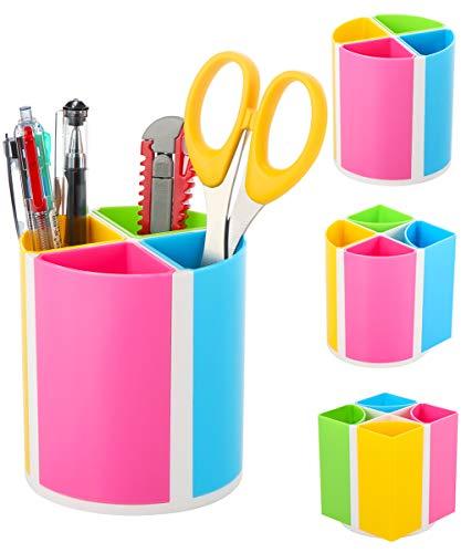 URbantin Farben Stifteköcher 4 Fächer für Schreibtisch Zubehör Kinder, Stifthalter Design Oval oder Quadrat, Plastik Stifte Organizer für das Büro School Supplies (Regenbogen)