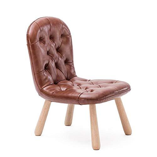 PanYFDD massief houten kinderstoel lage kruk kleuterschool schrijfwerkstoel thuis terug sofa stoel PU deel / 14,6 x 18,5 x 21,8 inch huishouden, woonkamer