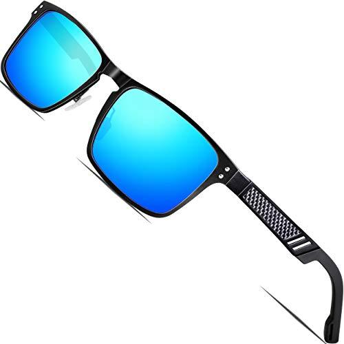 ATTCL偏振紫外线防护钓鱼高尔夫球练习场太阳镜男性铝镁金属框架超轻6500蓝