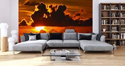 awallo Fototapete – Motiv «Wolkenspiel» in Braun, Gelb, Orange | 400x250cm | XXL Bild-Tapete Wand-Bild Digitaldruck | hochwertige Vliestapete – Made in Germany | einfache Verarbeitung