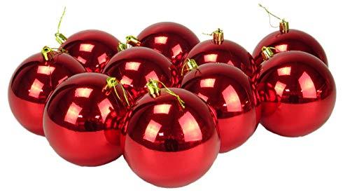 Toyland 10 Palline di Natale Extra Large da 100 mm di Colore - Decorazioni per Alberi di Natale (Rosso)
