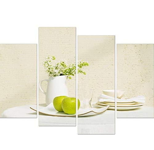Libjia Hd-Druck Leinwand Malerei Auf Ölgemälde Wand Für Wohnzimmer 4 Panel Obst Und Blume Anordnung Modulare Bilderrahmen