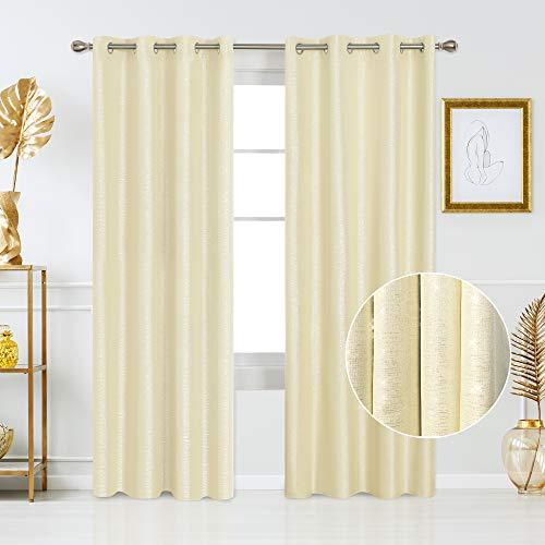 Deconovo Cortinas Salon con Aislamiento Térmico para Ventanas con Ojales 2 Piezas 140 x 260 cm Amarillo Claro