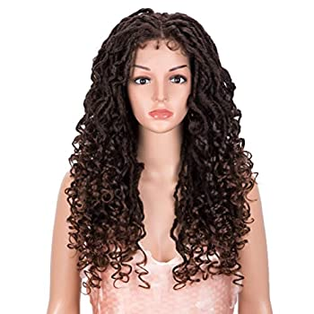 Style Icon 24  Faux Locs Wigs for Black Women 4X4 Free Part Goddess Locs Wig Long Twist Synthetic Wigs  24 Inch T1B/30