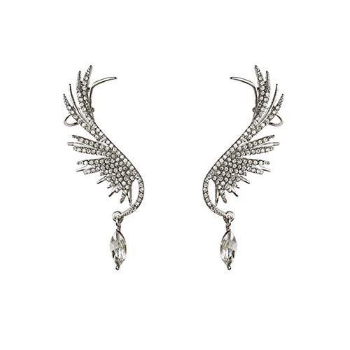 Clip De Clip De La Nueva Oreja De La Oreja En Los Pendientes para Las Mujeres Niña Rhinestone Cuelga Los Puños De Orejas (Metal Color : Silver)