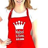 Didart Handmade Delantal cocina personalizado hombre mujer con la frase:' (nombre) el Rey de la cocina, (nombre) la reina de la cocina'. Varios colores. Regalo SOLIDARIO. Hecho en España