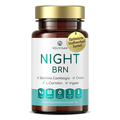 SOLVISAN NIGHT BRN für einen normalen Stoffwechsel mit Garcinia Cambogia, L-Carnitin, Cholin und Cumin - 60 Kapseln