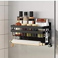 スパイスラック、磁気冷蔵庫棚、キッチン棚、スパイスオーガナイザー、ペーパータオルホルダー、防錆スパイスジャー棚、多目的冷蔵庫サイドシェルフ,黒,1 tier