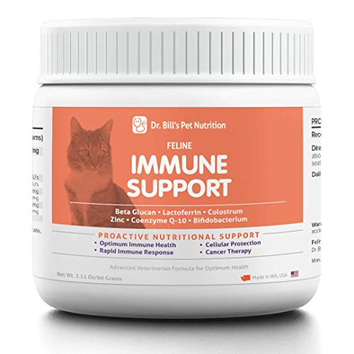 Dr. Bill's Feline Immune Support | Pet Supplement | Immune Support for Cats | Colostrum for Cats | Includes Beta Glucan, Lactoferrin, Colostrum, Zinc, Coenzyme Q-10, and Bifidobacterium