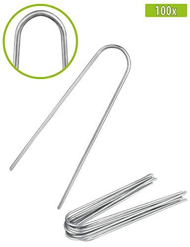 100x Anti-ROST Erdanker - Runder Kopf | Erdnägel | Bodenanker aus verzinktem Stahl zur Befestigung von Unkrautvlies | Gartenvlies | Unkrautfolie | Zaun & Netz oder fürs Camping - (100, 150x25x2,9 mm)