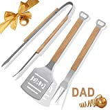 """POLIGO 3 PCS Portable Camping BBQ Grill Tools Set - Premium """"DAD"""" Spatula, Tongs, Fork with Oak Wood Handle in Package Box - Ideal BBQ Grilling Gifts Set for Birthday, Christmas or Anytime for Dad Men"""