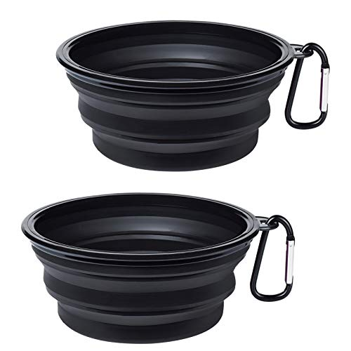 PetBonus 2-Pack Silicone Collapsible Dog Bowl, BPA Free Dishwasher Safe, Portable Foldable Travel Bowl, Food Water Feeding Dish for Dogs Cats with 2 Carabiners, Small, Black
