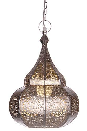 Orientalische Lampe Pendelleuchte Silber Ilham 40cm E27 Lampenfassung | Marokkanische Design Hängeleuchte Leuchte aus Marokko | Orient Lampen für Wohnzimmer Küche oder Hängend über den Esstisch