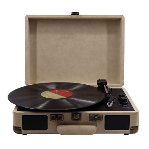 Xu-music oplaadbare phonograaf, 3 snelheden, draagbaar, vinyl, LP-speler, stereo-luidspreker, ingang/cinch, Line Out Vintage, vinyl, spelers, grijs.