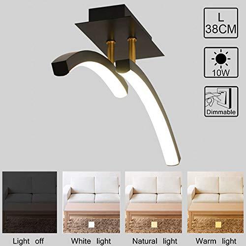 LED dimbare plafondlamp moderne vloerlampen, boog 2 vlammen hal plafondlamp, 10W verlichting eenvoudig design plafondlicht voor Foyer balkon veranda, acryl lampenkap metaal plafondlicht L38cm zwart