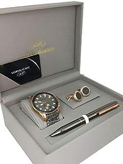 طقم ساعة رجالي من لويس مارتن معا قلم وكبك
