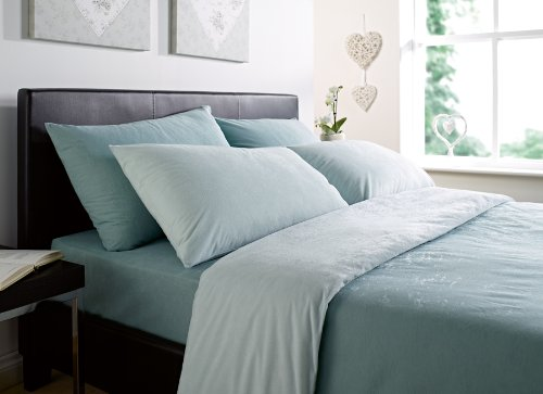 Luxurious Thermal Micro Fleece Double Bed Quilt Cover Set 2 Tone Eu De Nil/Teal
