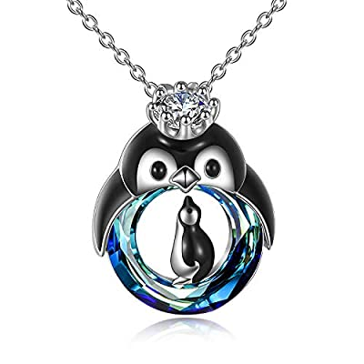 TOUPOP Penguin Gifts for Women s925 Sterling Silver Mother and Child Penguin Pendant Necklace Jewelry with Blue Circle Crystal Gifts for Girls Birthday Mom Daughter Christmas