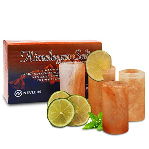 Nevlers All Natural Handcrafted Pink Himalayan Salt Shot Glasses - Great for Tequila Shots - Set of 4 Pieces - 3' Tall Shot Glasses - 100% Himalayan Salt