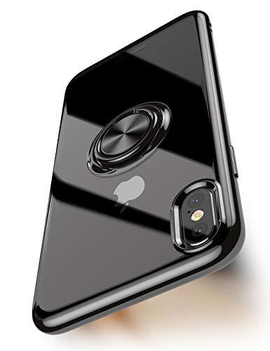 Supcase Einhorn-Käfer-Schutzhülle für iPhone Xs 5.8, mit 360° drehbarem, integriertem Ringhalter, schwarz