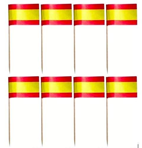 500 Banderas España decoración aperitivos, meriendas, eventos. Banderitas de España con palillo: Amazon.es: Hogar