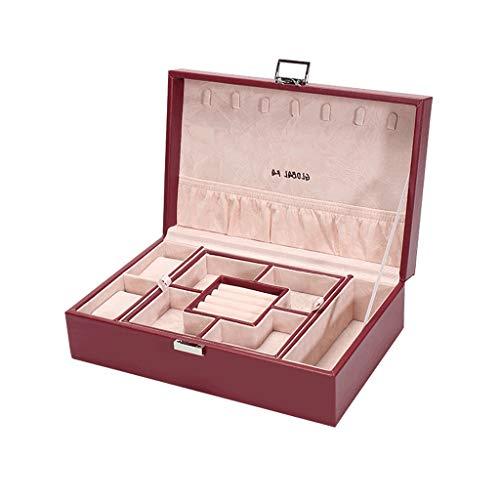 CWT Caja de joyería 29.5 * 19.8 * 9 cm Caja de Almacenamiento de Joyas for el hogar de Gran Capacidad Caja de aretes de Collar Simple (Color : Red)