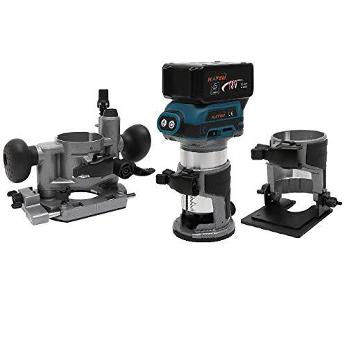 KATSU Set di Rifilatore Fresatrice Verticale per Legno a Batteria 18V con 3 Basi + 3 Pinze da 6mm, 8mm e 10mm + Batteria da 4,0Ah e Caricabatterie