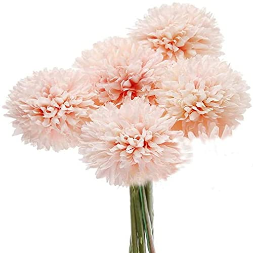 Yyhmkb 5Pcs Artificial Flowers, Fake Flowers Silk Plastic Artificial Hydrangea Realistic Flower Arrangements Wedding Decoration Pink