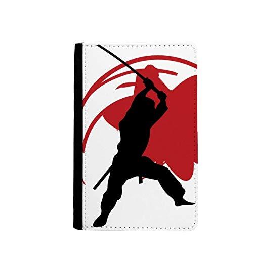 beatChong Japan Bushido Samurai Sakura Silhouette Asien-Pass-Halter Travel Wallet Abdeckungs-Fall Karten-Geldbeutel