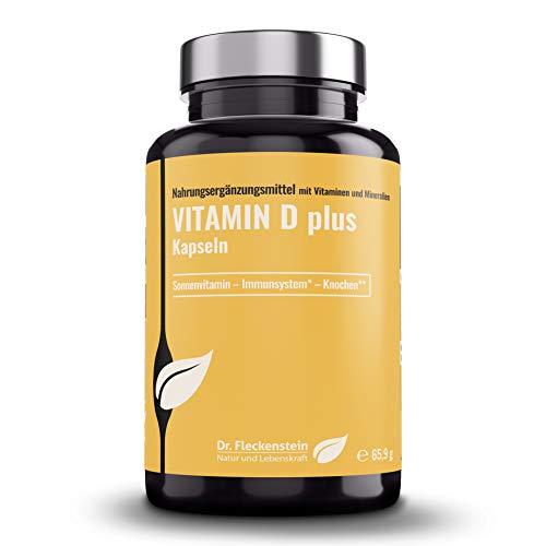Dr.Fleckenstein Vitamin D plus Kapseln, hochdosiert, mit Magnesium, Vitamine D3 (5000 IE) + K2 (100µg Menaquinon MK7, all-trans) & Piperin, Nahrungsergänzung, 120 Kapseln