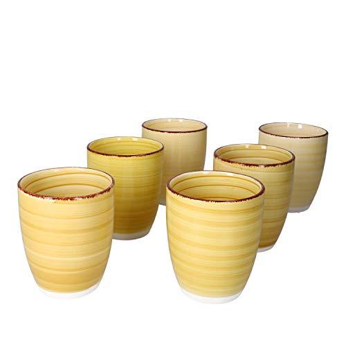 MamboCat Yellow Baita Kaffeebecher ohne Henkel I 6er Set Steingut-Tasse groß mit Strudel-Dekor - in tollen Gelbtönen I Tea & Coffee Mug - moderner Landhaus-Stil I Kaffee-Tassen bunt 300 ml 6 Stück