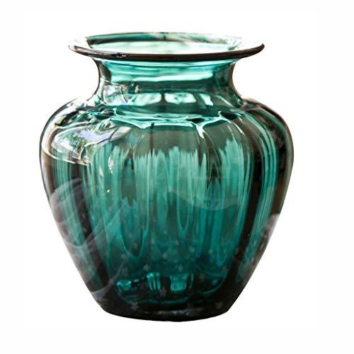Glasvaas handgemaakte Craft Creative Dark Green Striped Binnenlandse Zaken Decoraties, kan worden geplaatst In onderdeel tv kabinet, Household