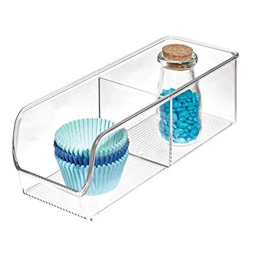 iDesign boîte de rangement à 2 compartiments, petit bac plastique pour le placard ou le tiroir, bac alimentaire empilable sans couvercle, transparent