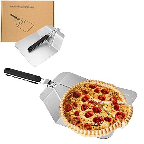 Taeku Pizzaheber Hochwertiger Pizzaschieber Aluminium Pizzaschaufel mit Einklappbarem Griff Pizzastein Set für Pizza wie beim Italiener für Backofen Grill Gasgrill